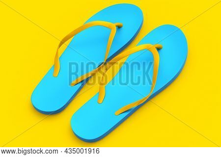 Beach Blue Flip-flops Or Sandals Isolated On Yellow Background.