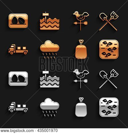 Set Cloud With Rain, Shovel, Plant, Full Sack, Pickup Truck, Rooster Weather Vane, Chicken Egg And G