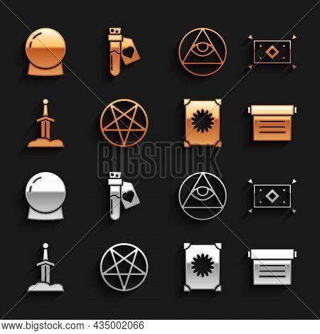Set Pentagram In A Circle, Magic Carpet, Ancient Magic Book, Sword The Stone, Masons, Ball And Bottl