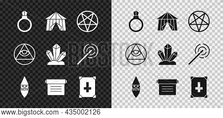Set Magic Stone Ring With Gem, Circus Tent, Pentagram Circle, Wizard Warlock, Ancient Magic Book, Ma