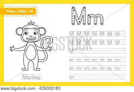 Trace Letter M Uppercase And Lowercase. Alphabet Tracing Practice Preschool Worksheet For Kids Learn