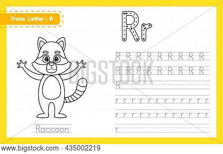 Trace Letter R Uppercase And Lowercase. Alphabet Tracing Practice Preschool Worksheet For Kids Learn