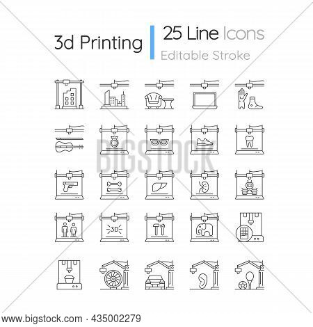 3d Printing Technology Linear Icons Set. Creating Three Dimensional Objects. Rapid Prototyping. Cust