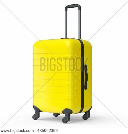 Small Yellow Polycarbonate Suitcase Isolated On White Background.
