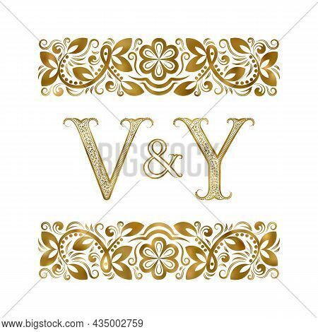 V And Y Vintage Initials Logo Symbol. The Letters Are Surrounded By Ornamental Elements. Wedding Or