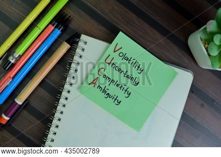 Vuca - Volatility Uncertainly Complexity Ambiguity Write On Sticky Notes Isolated On Wooden Table.
