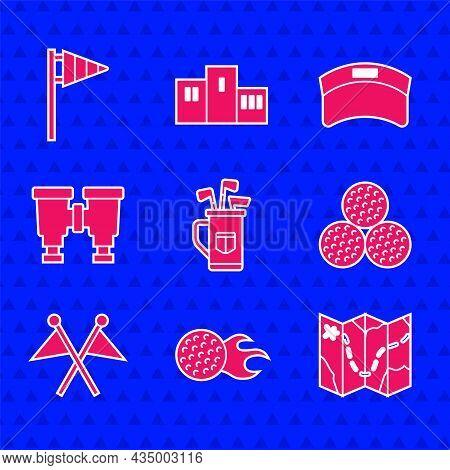 Set Golf Bag With Clubs, Ball, Course Layout, Flag, Binoculars, Sun Visor Cap And Icon. Vector