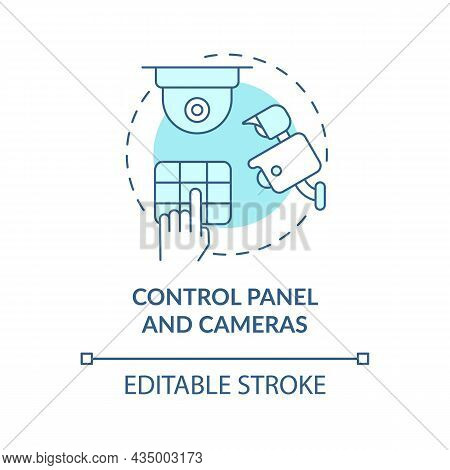 Control Panel And Cameras Blue Concept Icon. House Safeguard Abstract Idea Thin Line Illustration. H
