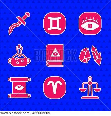 Set Ancient Magic Book, Aries Zodiac, Libra, Magic Stone, Scroll, Poison In Bottle, Masons And Dagge