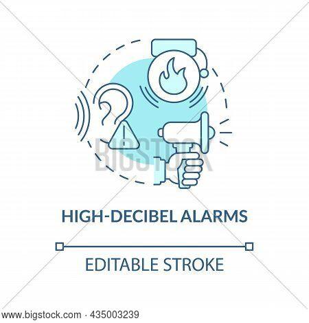 High Decibel Alarms Blue Concept Icon. Loud Siren Alarm Abstract Idea Thin Line Illustration. House