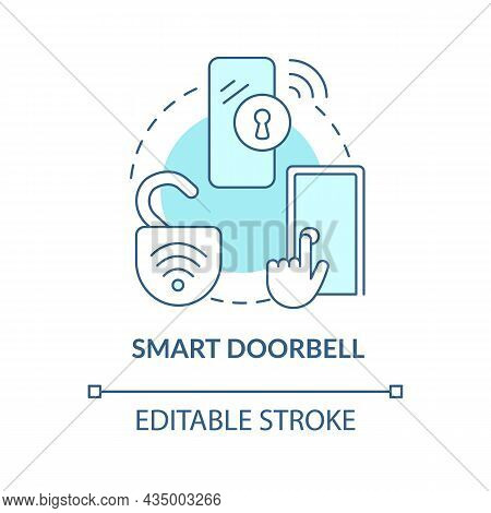 Smart Doorbell Blue Concept Icon. Digital Video And Ring Tool Abstract Idea Thin Line Illustration.