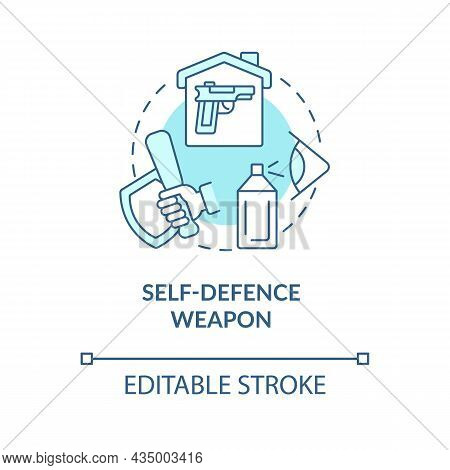 Self Defence Weapon Blue Concept Icon. Personal Protection Abstract Idea Thin Line Illustration. Pep