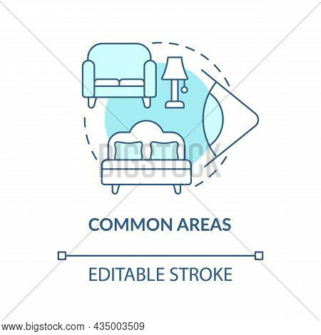 Common Areas Blue Concept Icon. Home Security System Abstract Idea Thin Line Illustration. Install C