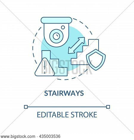 Stairways Blue Concept Icon. Smart House Security Abstract Idea Thin Line Illustration. Place Camera