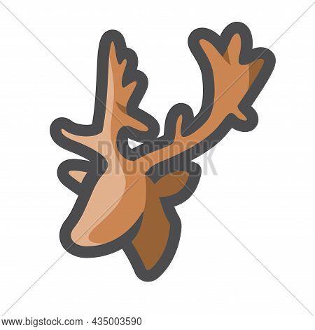 Deer Head Simple Vector Icon Cartoon Illustration.