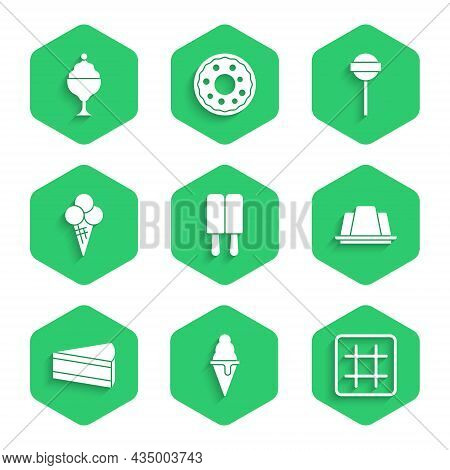 Set Ice Cream, In Waffle Cone, Waffle, Jelly Cake, Piece Of, Lollipop And Bowl Icon. Vector