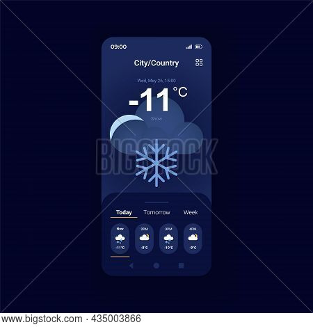 Winter Weather Forecast Night Mode Smartphone Interface Vector Template. Cloudy And Snowy Night. Mob