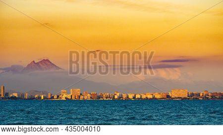 Panoramic View On Mediterranean Coast Seaside Spanish Alacant City On The Costa Blanca, Valencia, Sp