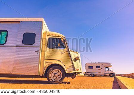 Vintage Caravan On Mediterranean Coast In Spain. Holidays And Travel In Motor Home.