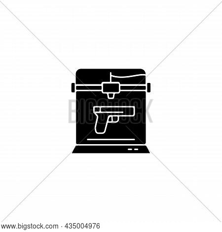 3d Firearms Printing Black Glyph Icon. 3d Printable Gun Fabrication. Weapon Manufacture. Military Ap
