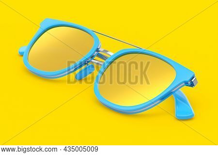 Realistic Sunglasess With Gradient Lens And Blue Plastic Frame On Yellow