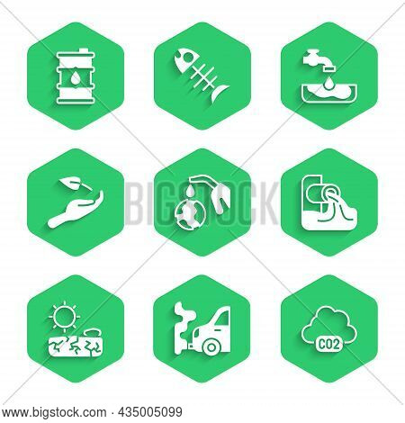 Set Gas Pump Nozzle And Globe, Car Exhaust, Co2 Emissions In Cloud, Wastewater, Drought, Sprout Hand