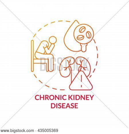 Chronic Kidney Disease Concept Icon. Hypertension Cause Abstract Idea Thin Line Illustration. Organ