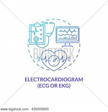 Electrocardiogram Concept Icon. Hypertension Test Abstract Idea Thin Line Illustration. Heart Diseas