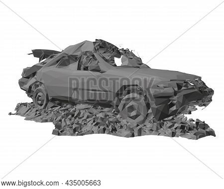 Model Of A Destroyed Car In A Pile Of Rubbish Isolated On A White Background. 3d. Vector Illustratio