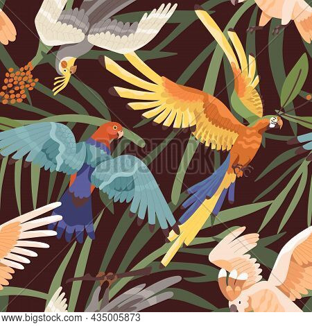 Seamless Tropical Pattern With Parrots In Jungles. Endless Background With Exotic Birds And Palm Lea
