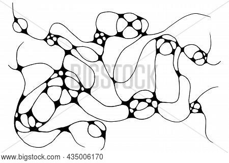 Neurographic Lines Sketch Vector Illustration. Abstract Chaotic Wavy Curves Pattern Background. Hand