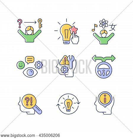Self Development Skills Rgb Color Icons Set. Self Monitoring And Correction. Critical Thinking Skill