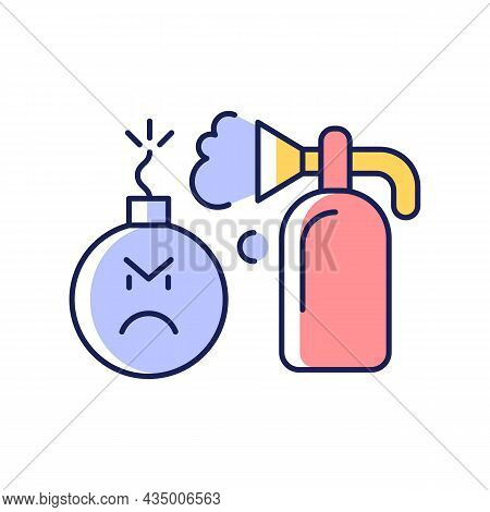 Extinguishing Emotions Rgb Color Icon. Suppressing Feelings And Emotions That You Experience. Self C