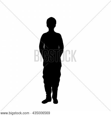 Silhouette One Indian Boy. Indian Culture. Illustration Symbol Icon