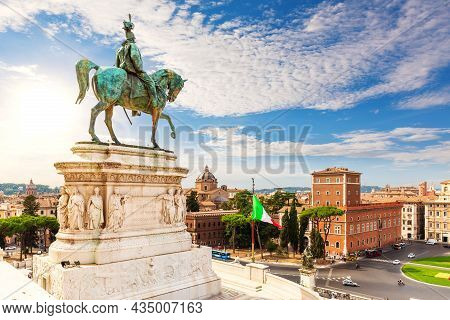 Beautiful View On The Monument To Victor Emmanue And Piazza Venezia, Rome, Italy