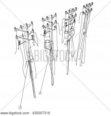 Contour Of Destroyed Power Lines From Black Isolated On White Background. Isometric View. Vector Ill