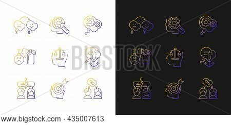 Critical Mindset And Attitude Gradient Icons Set For Dark And Light Mode. Critical Thinking. Thin Li