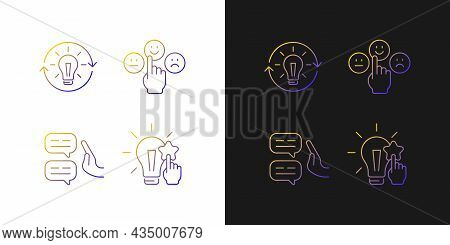 Logical And Rational Thinking Gradient Icons Set For Dark And Light Mode. Emotional Maturity. Thin L