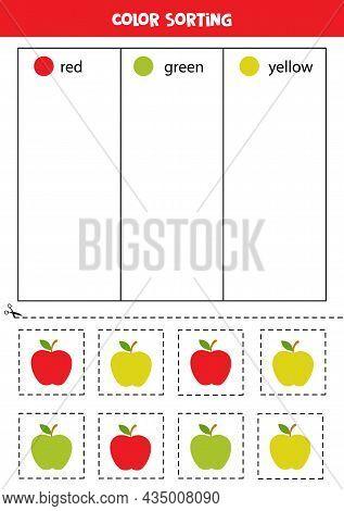 Color Sorting For Kids. Sort Cartoon Apples By Colors. Educational Worksheet.