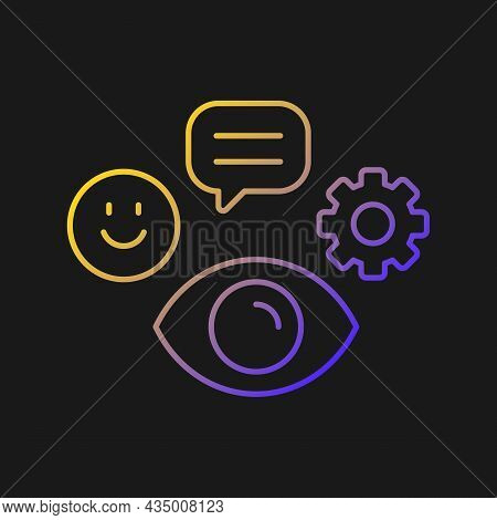 Observation Skills Vector Icon For Dark Theme. Ability To Analyze And Predict Problems. Attention To