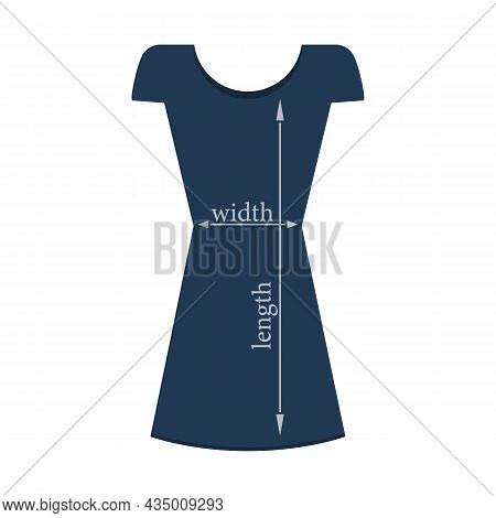 Silhouette Of A Woman's Dress And Dimensions Width, Length, Height With Arrows. Isolated Vector Illu