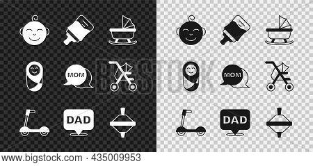 Set Little Boy Head, Baby Bottle, Stroller, Roller Scooter, Speech Bubble Dad, Whirligig Toy, Newbor