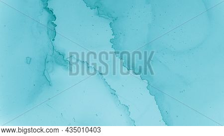 Watercolor Color Background. Alcohol Ink Texture. Teal Pastel Fluid Water. Blue Cloud Creative Abstr