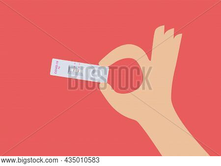 Hand Holding Rapid Kits Of Covid-19 Ag Test. Vector Illustration