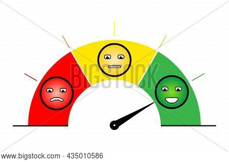 Rating Or Score Concept. Gauge With Needle Pointing To Excellent. Vector Illustration