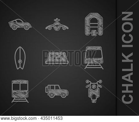 Set Taxi Car Roof, Off Road, Scooter, Train And Railway, Surfboard, Rafting Boat And Car Icon. Vecto