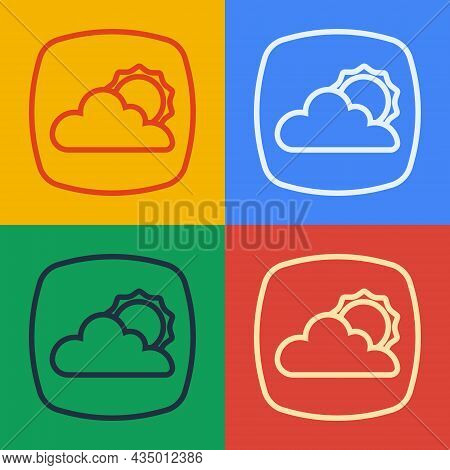 Pop Art Line Weather Forecast Icon Isolated On Color Background. Vector