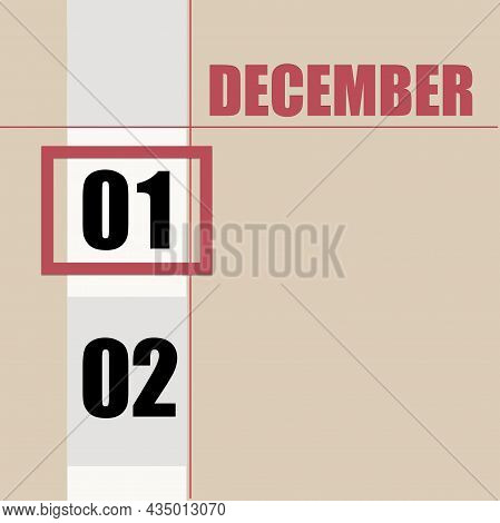 December 1. 1th Day Of Month, Calendar Date.beige Background With White Stripe And Red Square, With