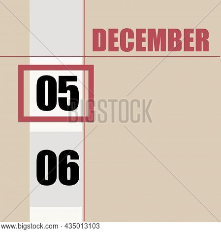 December 5. 5th Day Of Month, Calendar Date.beige Background With White Stripe And Red Square, With