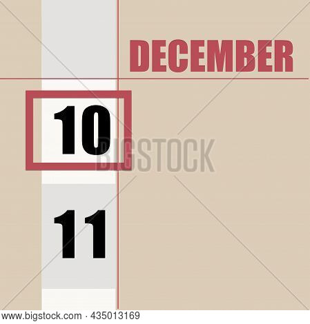 December 10. 10th Day Of Month, Calendar Date.beige Background With White Stripe And Red Square, Wit
